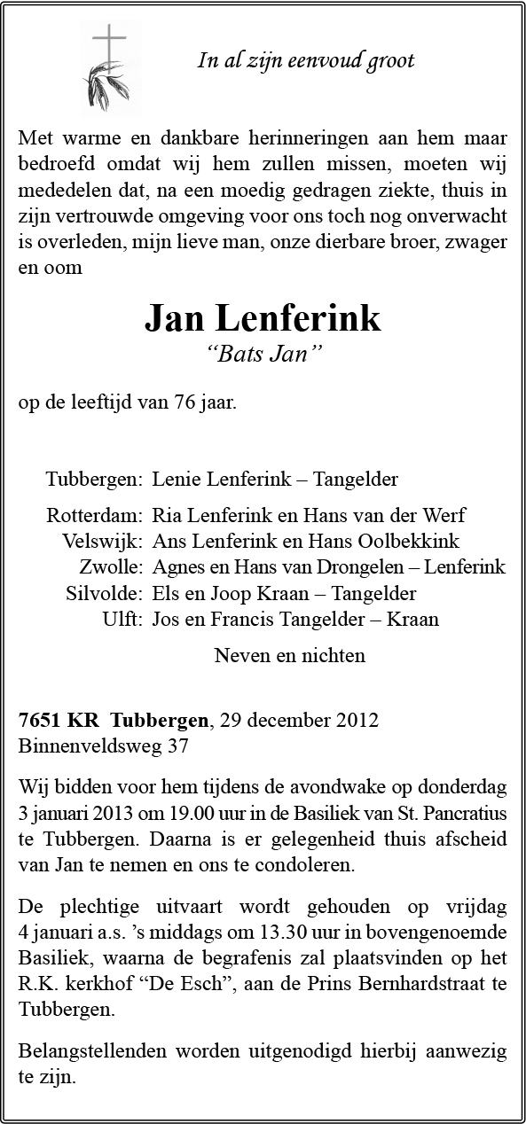 Gemeente Tubbergen Condoleances Condolerennu